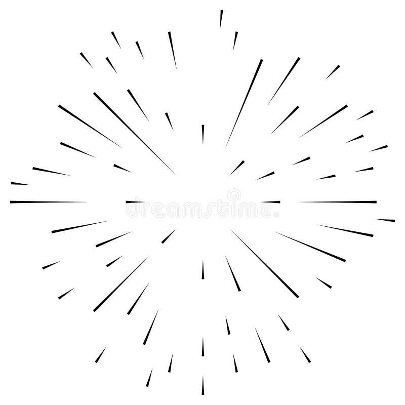 Radiaal, uitstralend onregelmatige, asymmetrische lijnen Explosieeffect stock illustratie
