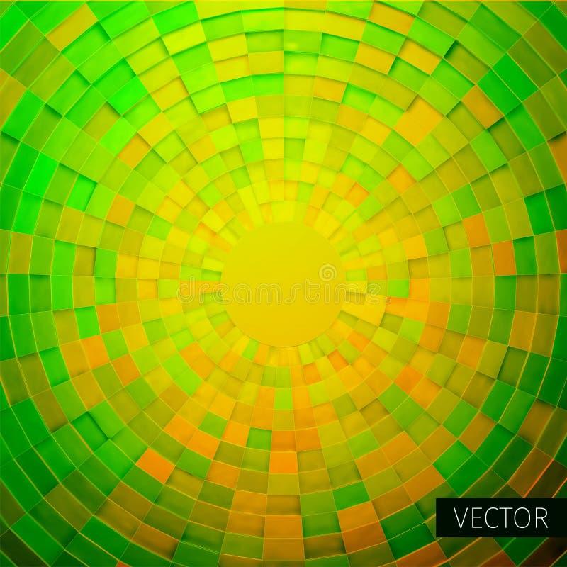 Radiaal vierkant ornament Hoekig net van 3d dozen vector illustratie