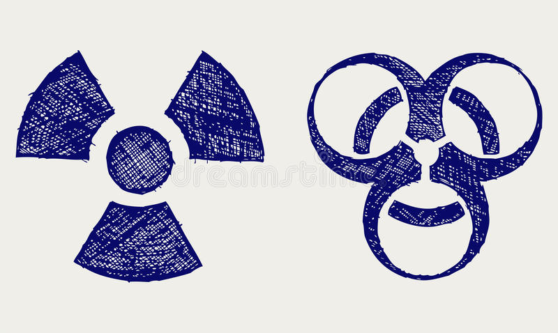Radiactivo y biohazard stock de ilustración