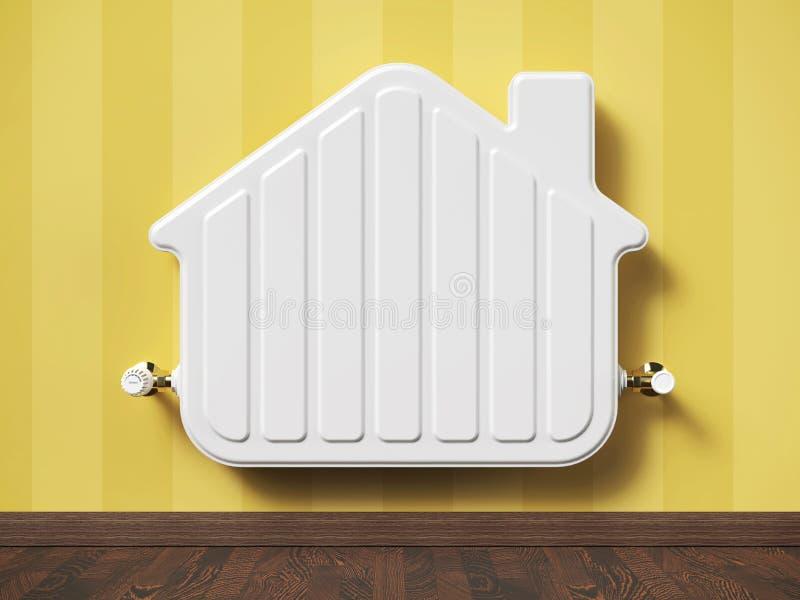 Radiador casero del calentador en la casa de la forma en sala de estar stock de ilustración