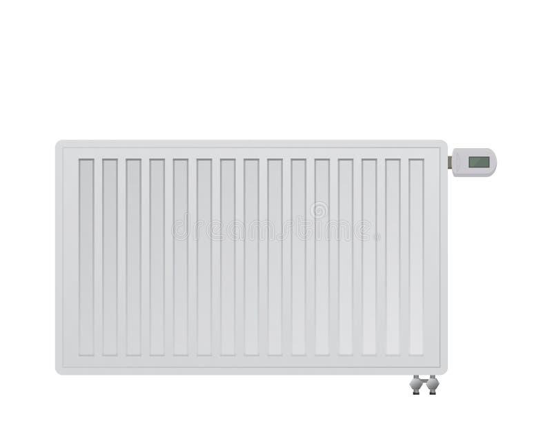 Radiador de acero del panel Cabeza térmica electrónica Conexión lateral del abajo a la derecha al sistema de calefacción ilustración del vector