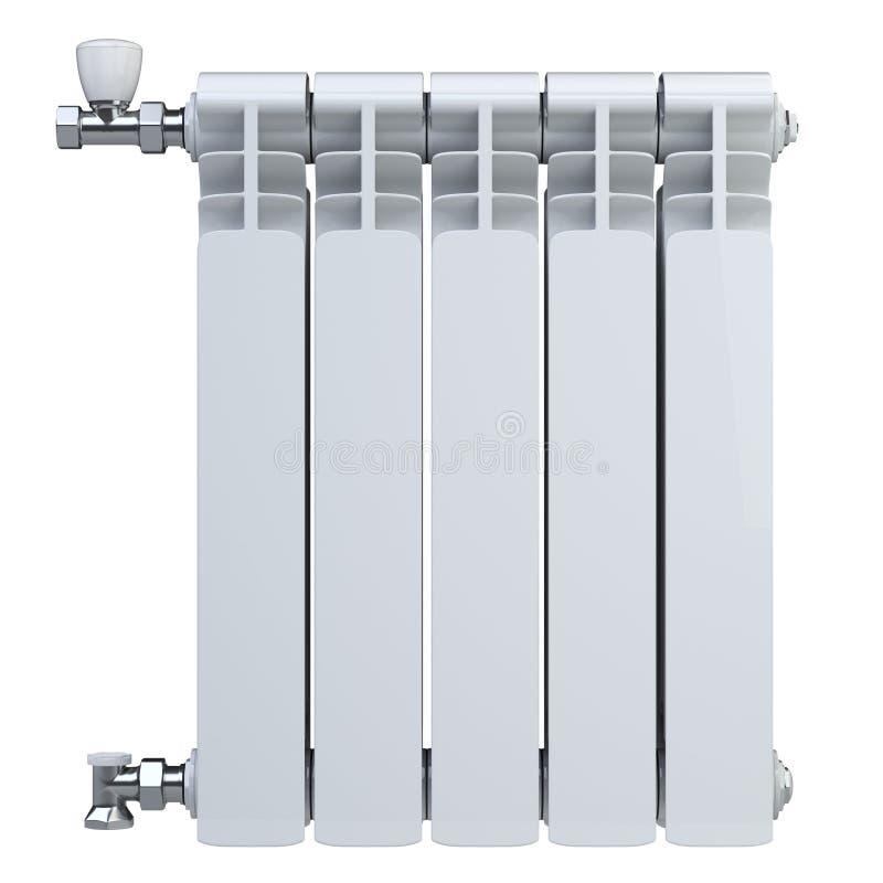 Radiador de aquecimento de alumínio com as válvulas para a conexão Front View Isolado no fundo branco ilustração stock