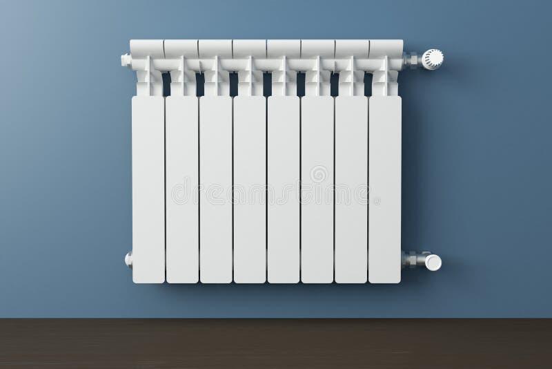 Radiador de la calefacción en un cuarto con el piso de madera laminado libre illustration