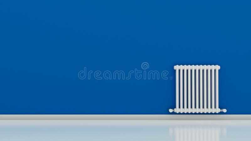 Radiador en una pared en un cuarto vacío stock de ilustración