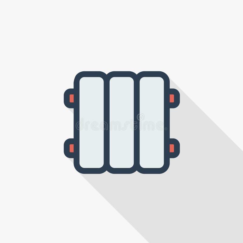 Radiador, sistema de calefacción, reparaciones en la casa, edificio, cuarto de baño, línea fina icono plano del sitio del color S libre illustration