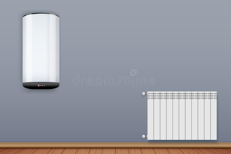 Radiador y caldera de la calefacción en sitio ilustración del vector