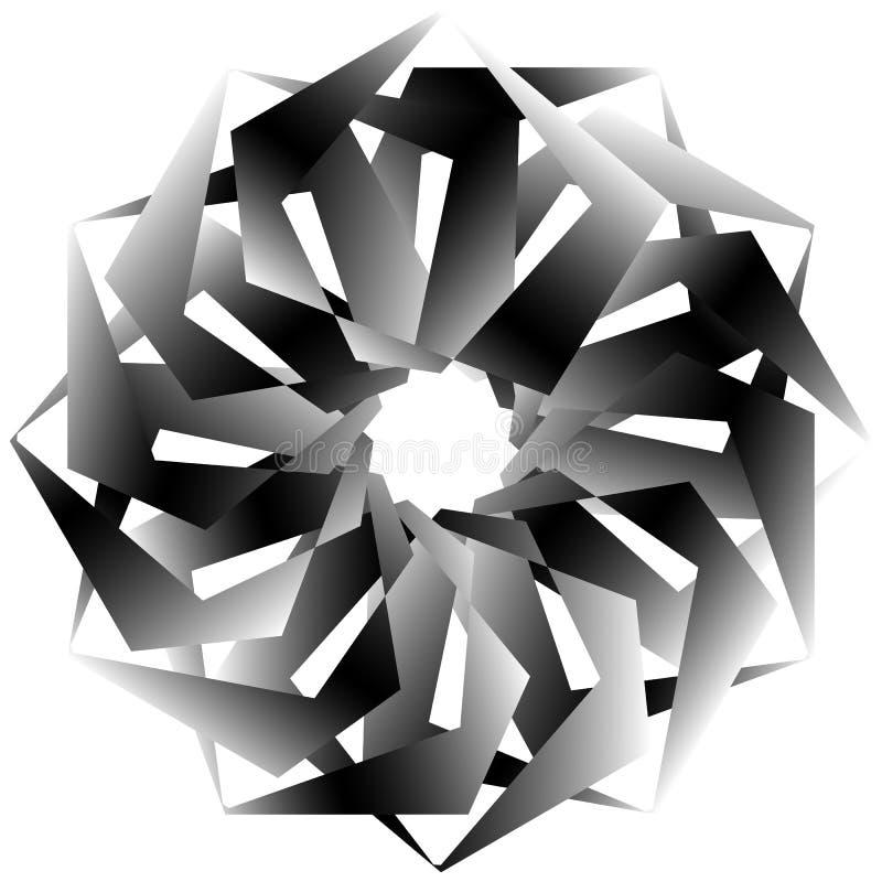 Download Radial, спирально геометрический декоративный элемент - абстрактное Monochr Иллюстрация вектора - иллюстрации насчитывающей центрально, перекрытие: 81806866