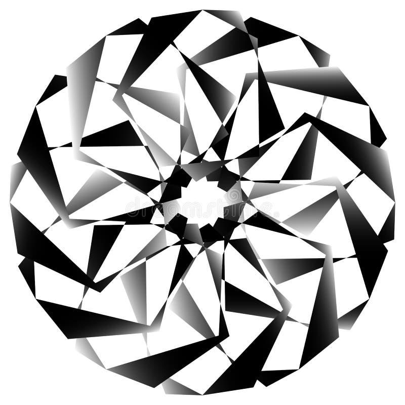 Download Radial, спирально геометрический декоративный элемент - абстрактное Monochr Иллюстрация вектора - иллюстрации насчитывающей круг, концентрическо: 81807049