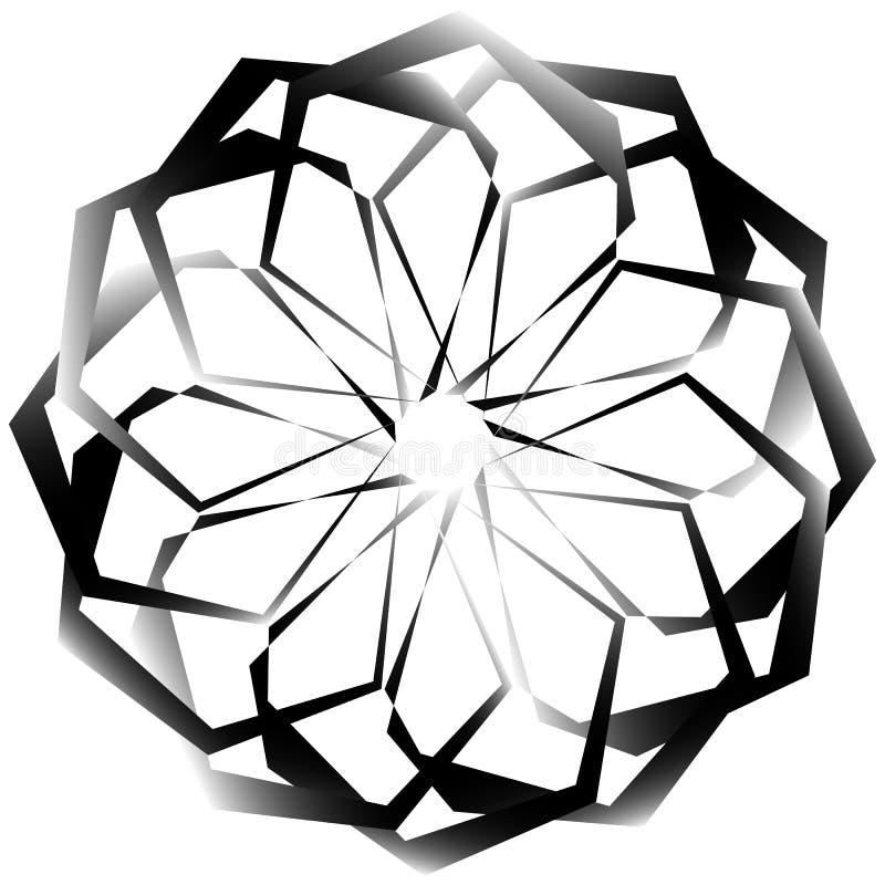 Download Radial, спирально геометрический декоративный элемент - абстрактное Monochr Иллюстрация вектора - иллюстрации насчитывающей украшение, абстракции: 81807103