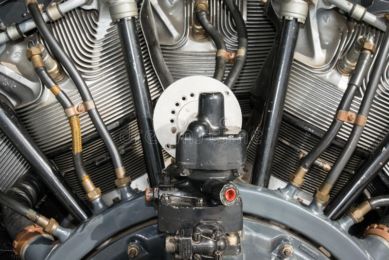 Radial aero engine. Close detail stock photography