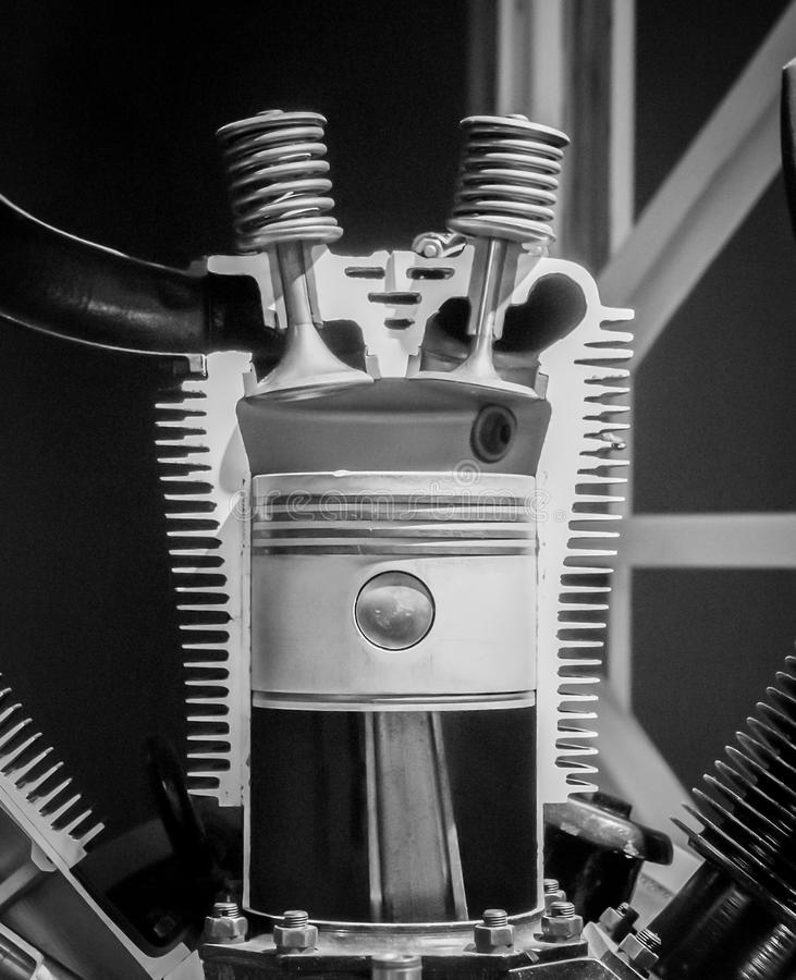 Radial Airplane Engine Cut-out. A vintage radial airplane engine cut out and showing internal components royalty free stock photos