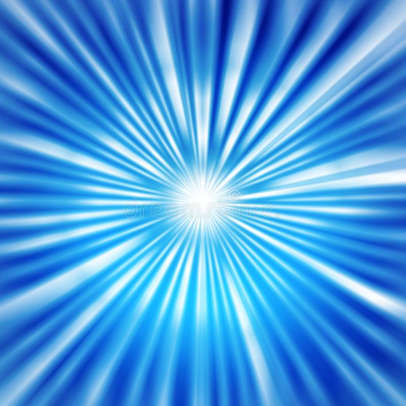 Radial Bright Rays in Blue Background. Abstract blue background with radial brilliant blurred beams and zoom effect for web design, banner, template or poster stock images