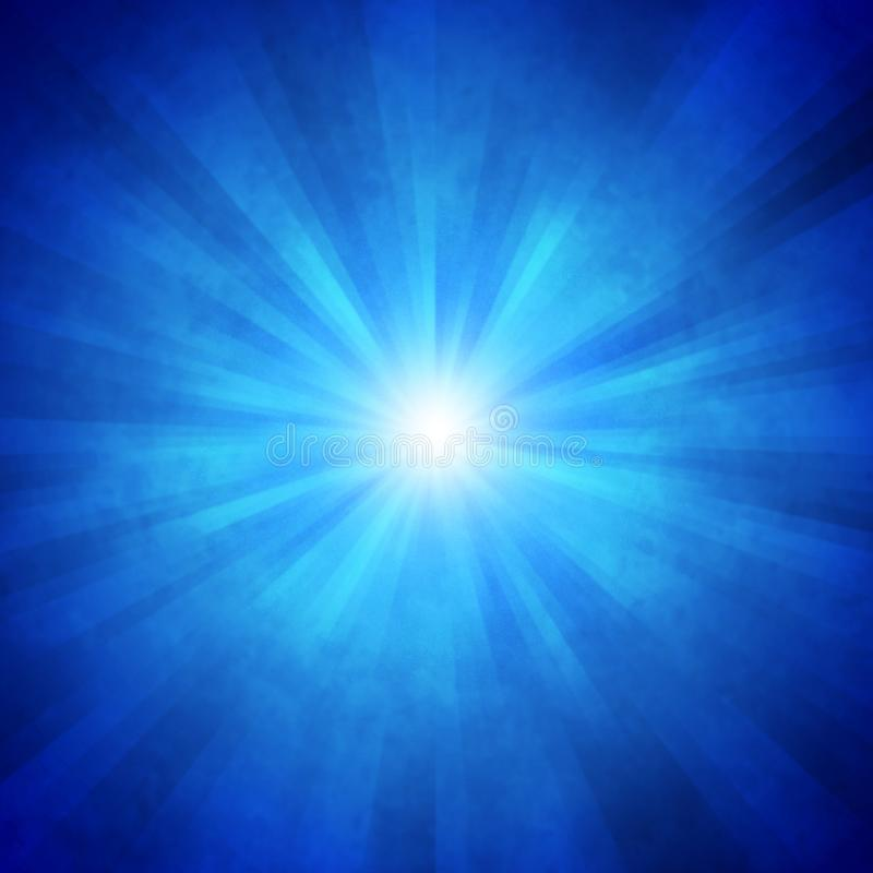 Radial Bright Rays in Blue Background. Abstract blue background with radial blurred beams or light speed and zoom effect for web design, banner, template or royalty free stock image