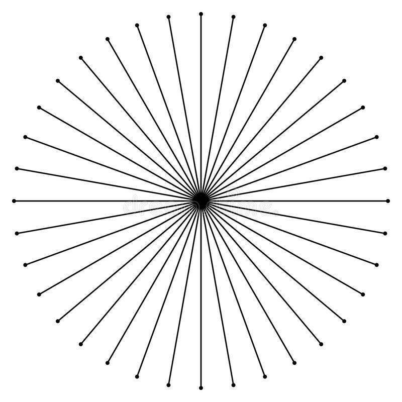 Radial circulaire, rayonnant des lignes élément Rayons abstraits, faisceaux, illustration stock