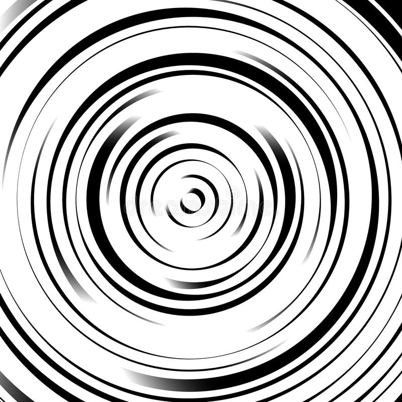 Radial concentric circles with irregular, dynamic lines. Abstract pattern with rotating, spiral effect. Royalty free vector illustration royalty free illustration