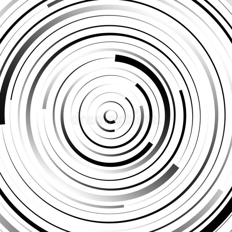 Radial concentric circles with irregular, dynamic lines. Abstract pattern with rotating, spiral effect. Royalty free vector illustration stock illustration