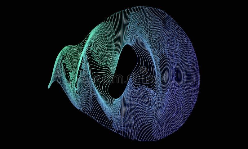 radial da onda 3d com grade da cor Fundo futurista Ilustração do vetor ilustração do vetor