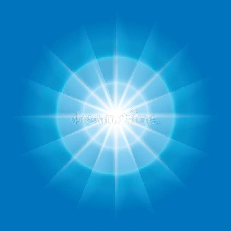 Radial element with rays on blue background - eps