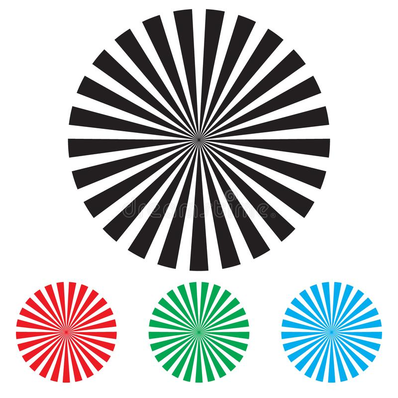 Radial Elements Set. Starburst or Sunburst Backgrounds. Ray, Beam Shapes vector illustration
