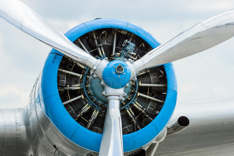 Radial engine. Radial engine of an aircraft. Close-up stock photos