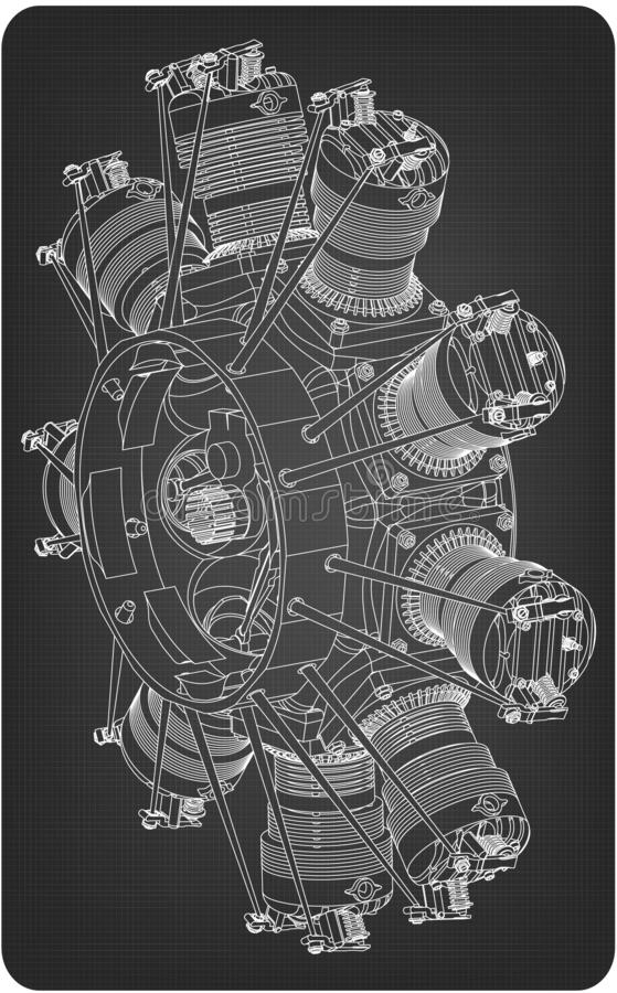 Radial engine on a gray royalty free illustration