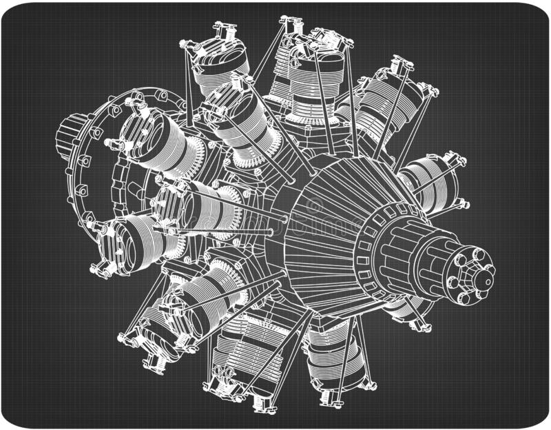 Radial engine on a gray. Background. Drawing stock image