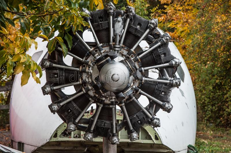 Radial engine of an old plane. Outdated motor in the aviation museum.  royalty free stock image