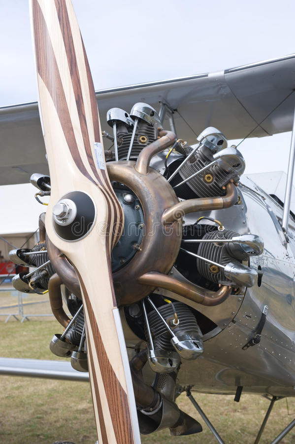 Radial engine with propeller. CERNY LA FERTE ALAIS, FRANCE - JUNE 12: Stearman radial engine with propeller up close at Aerial Meeting The propeller era in Cerny royalty free stock images