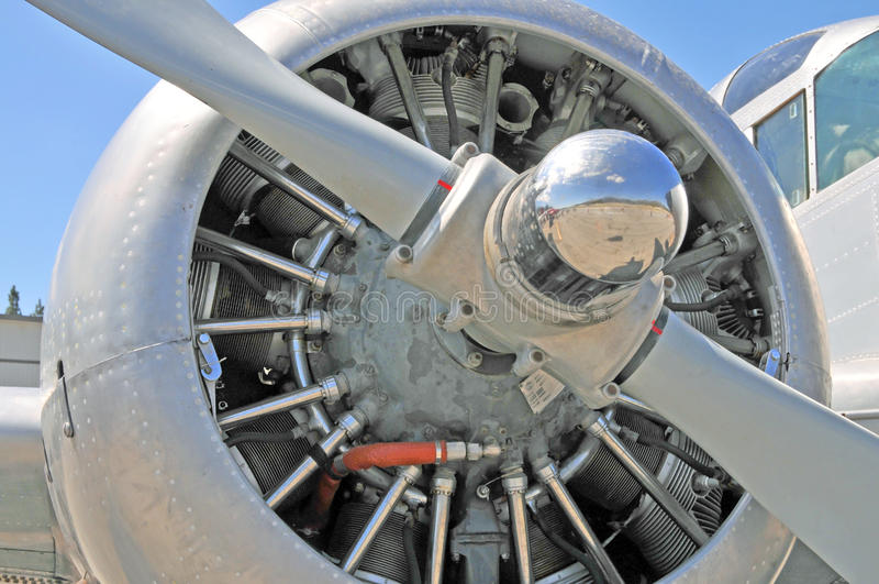 Radial Engine. This is a radial engine on a twin engine Beechcraft. It was likely built by Pratt and Whitney. Note that the cylinders are arranged in a circle royalty free stock photography