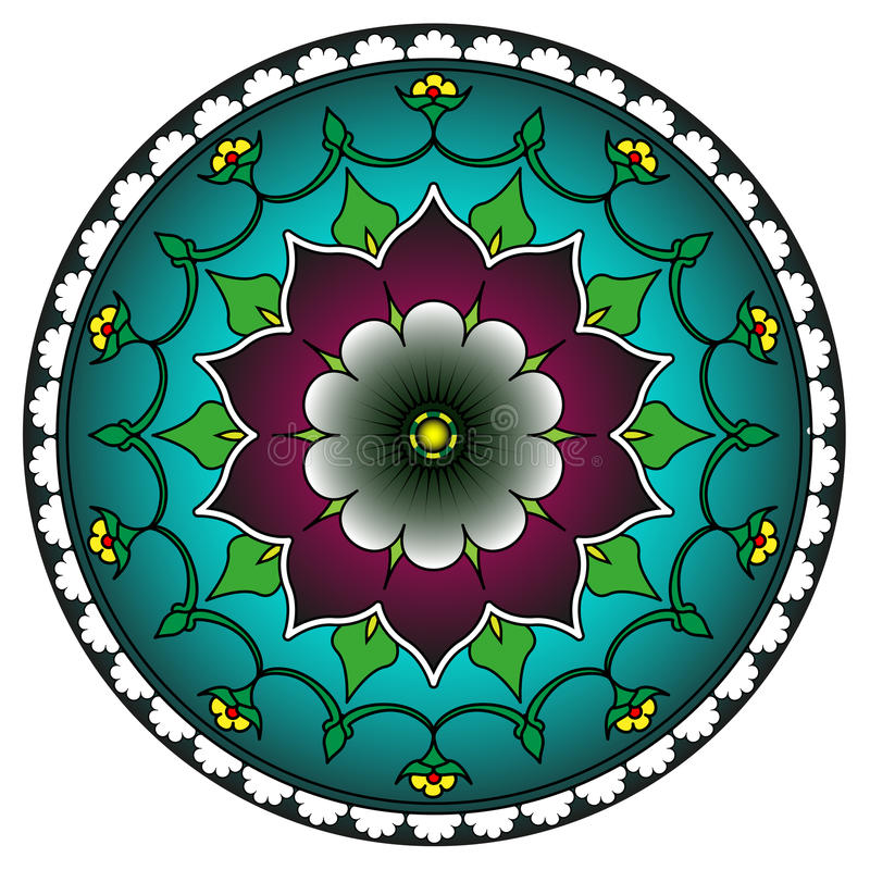 Radial geometric ornament stock illustration