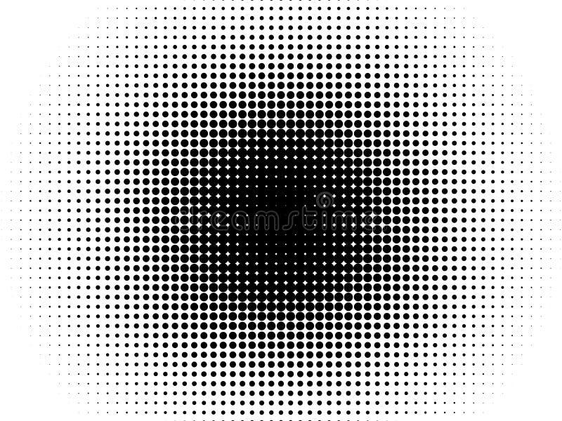 Radial halftone pattern vector gradient background. Radial halftone pattern texture. Vector black and white radial dot gradient background for retro, vintage vector illustration