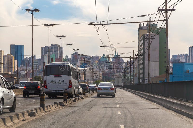 Radial highway and business center in South America stock photo