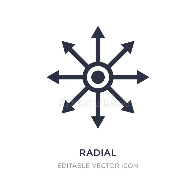 Radial icon on white background. Simple element illustration from Tools and utensils concept. Radial icon symbol design stock illustration