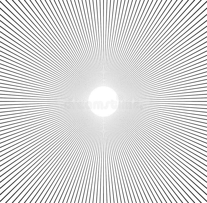 Radial lines starburst, sunburst pattern. Black and white circular lines, stripes abstract element. stock illustration