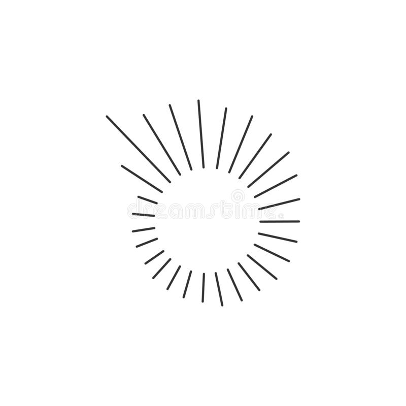 Radial Lines or sun rays in Circle Spiral Form . Explosion icon. Vector Illustration . Vintage round Logo . Handwritten Design royalty free illustration