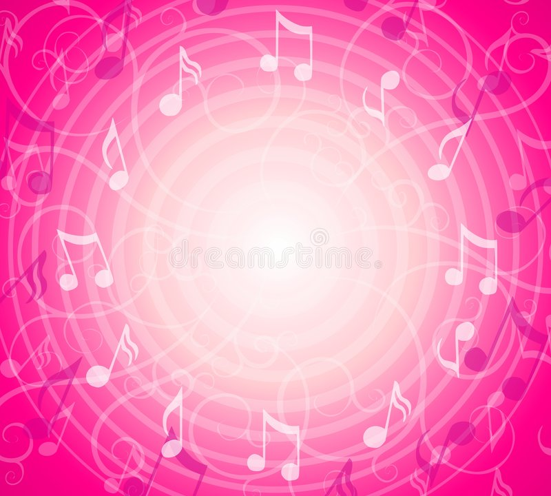 Free Radial Music Notes Pink Background Stock Images - 4389614