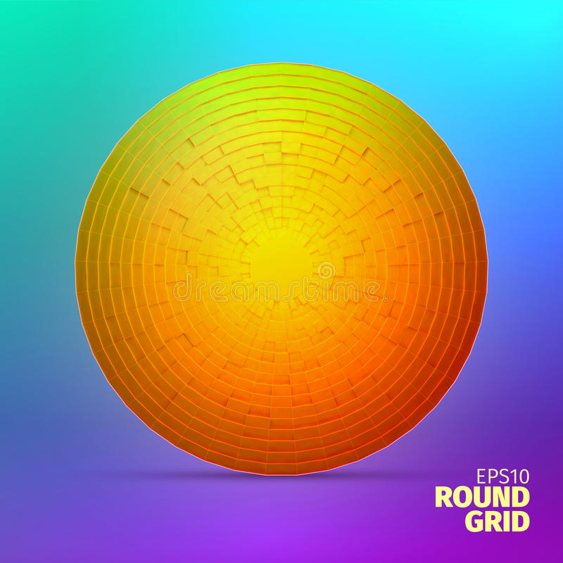Radial ornament. Angular grid of 3d boxes. Circle element royalty free illustration
