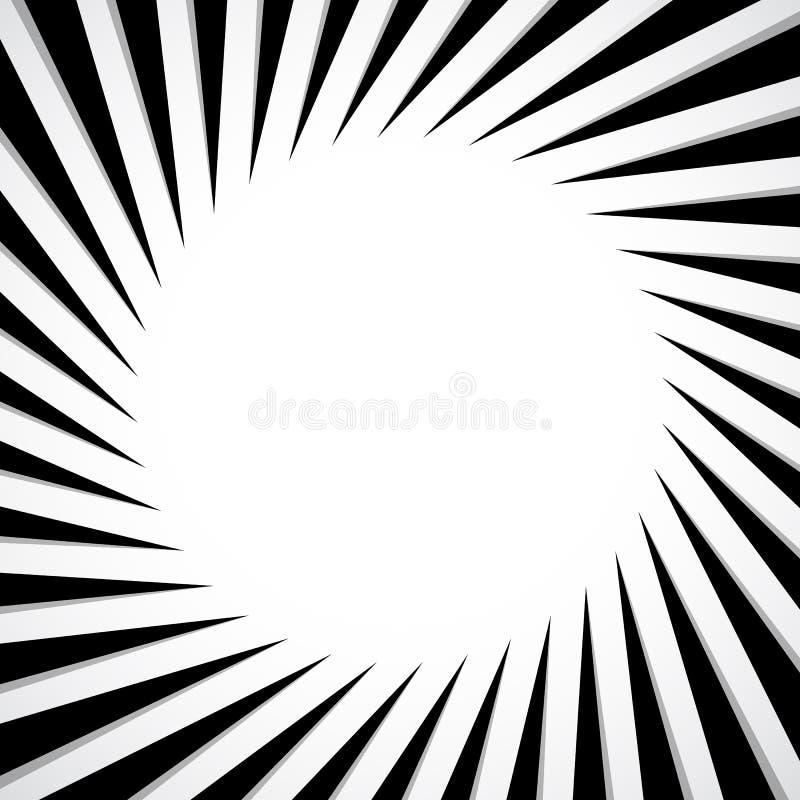 Radial preto e branco - irradiando linhas teste padrão da circular ilustração do vetor