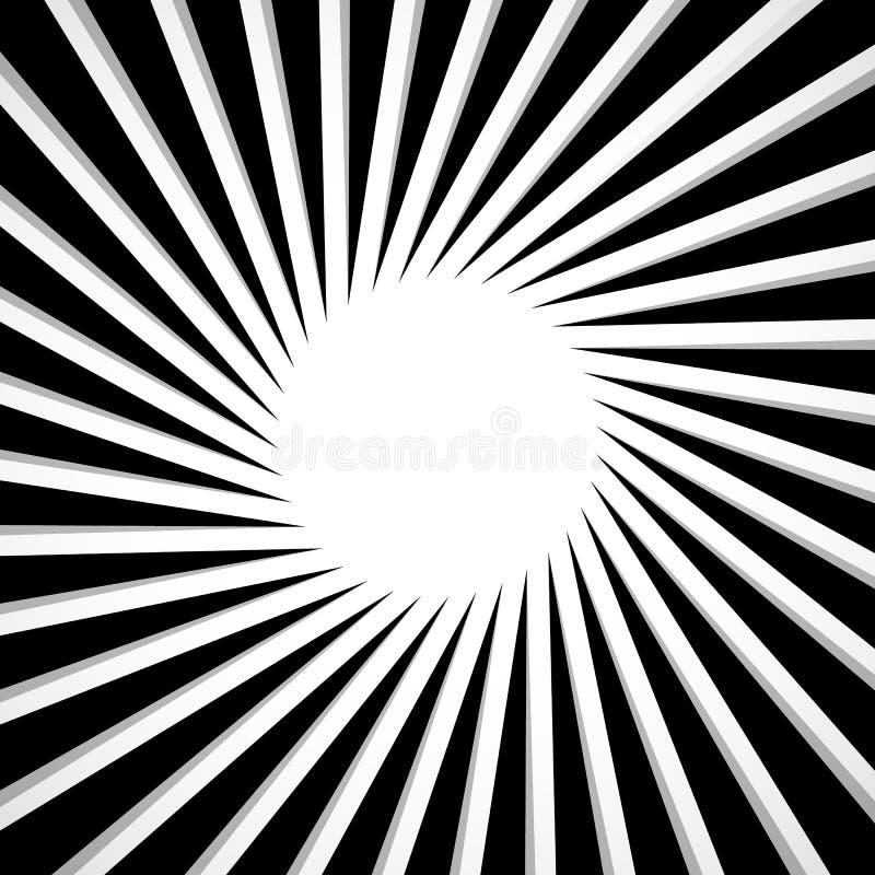 Radial preto e branco - irradiando linhas teste padrão da circular ilustração royalty free