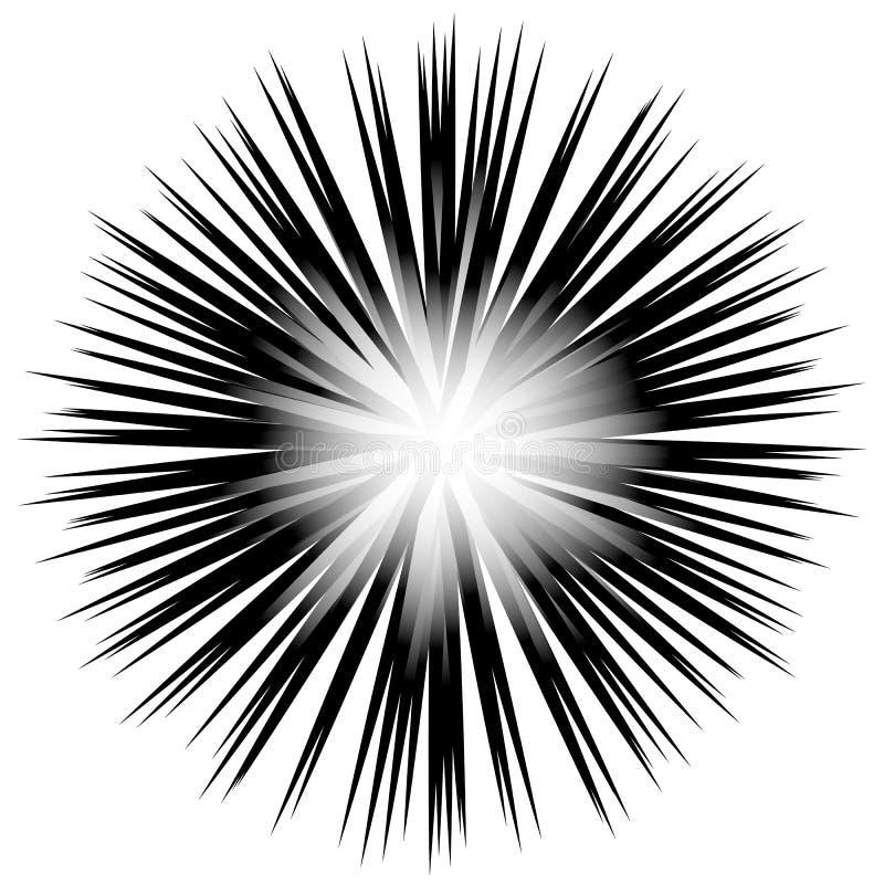 Radial preto e branco - irradiando linhas teste padrão da circular ilustração stock