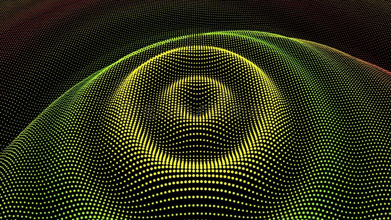 Radial pulse sea. 3D drip drop. Big data grid. Circle ripple effect. Radial pulse surface dimensional wavy. Drip drop to data flow. Surface curl background. Grid royalty free stock image