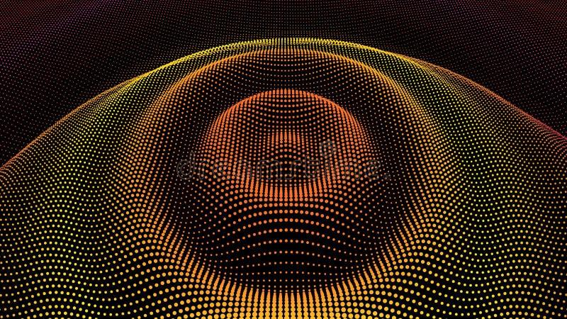 Radial pulse sea. 3D drip drop. Big data grid royalty free stock image