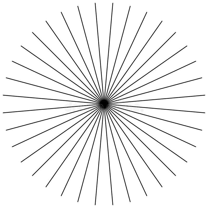 Radial, radiating straight thin lines. Circular black and white vector illustration