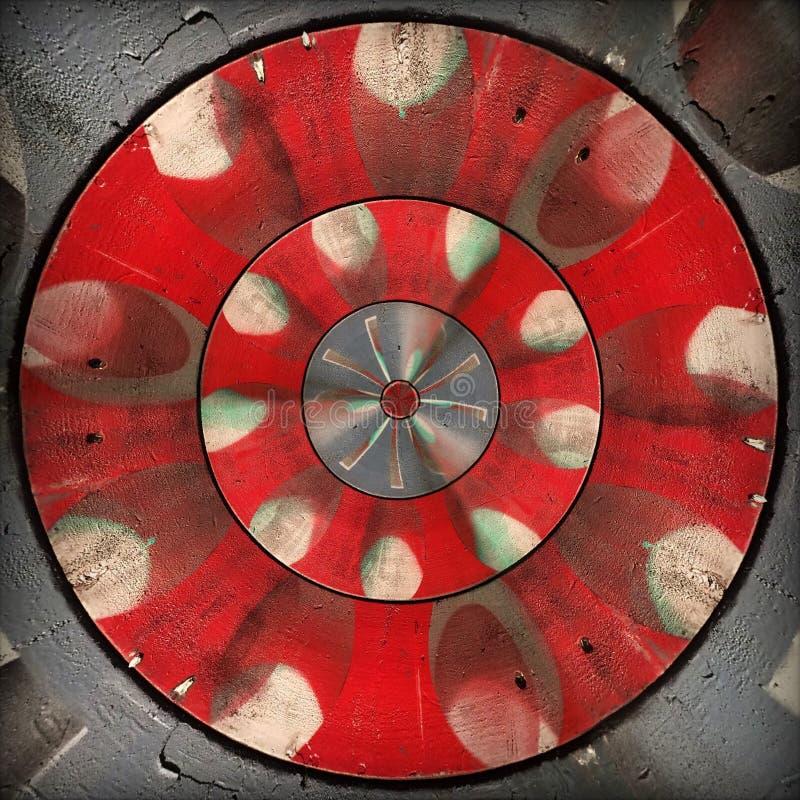 Radial red gray circular abstract pattern stock image