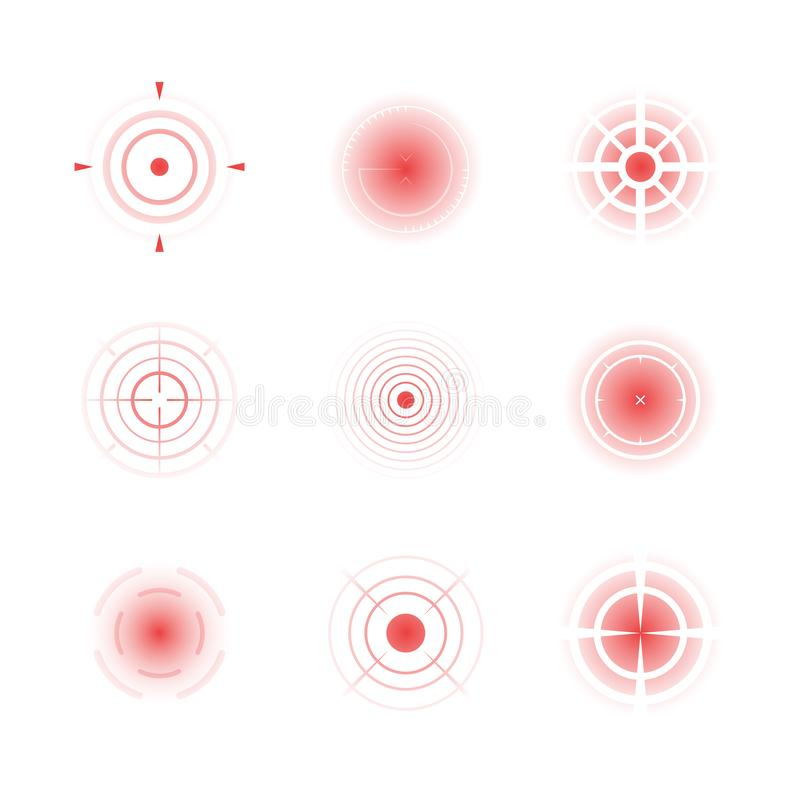 Radial red shapes. Migraine aiming bones painful target concentric pain vector abstract rings royalty free illustration