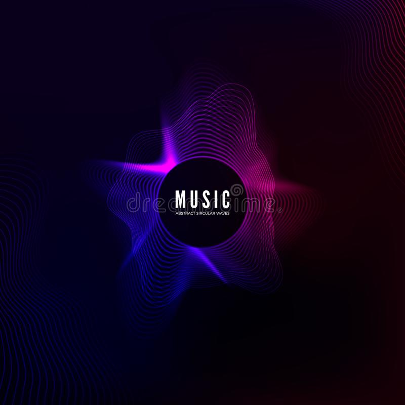 Radial sound wave curve. Colorful equalizer visualisation. Abstract colorful cover for music poster and banner. Vector background vector illustration