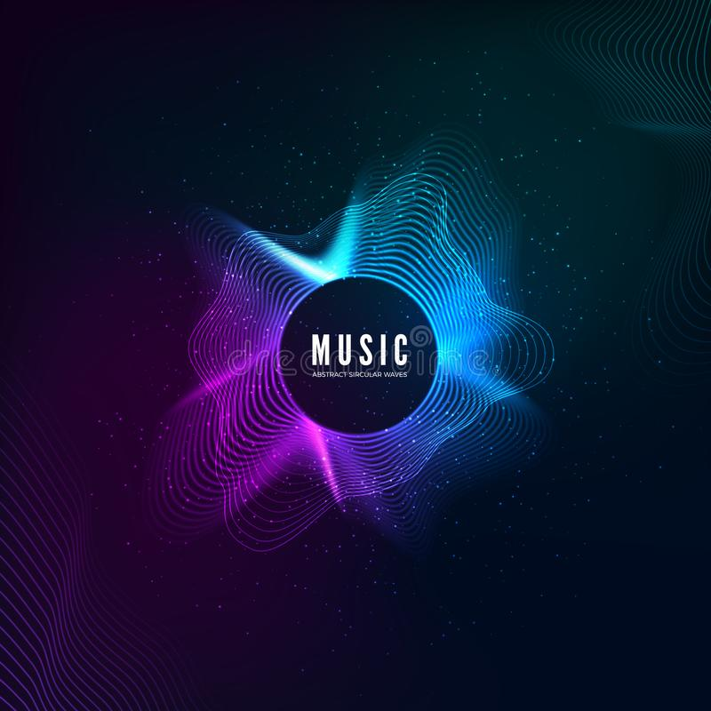 Radial sound wave curve with light particles. Colorful equalizer background. Abstract colorful cover for music poster and banner. vector illustration