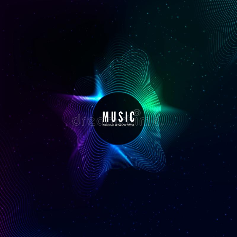 Radial sound wave curve with light particles. Colorful equalizer visualisation. Abstract colorful cover for music poster. And banner. Vector background royalty free illustration