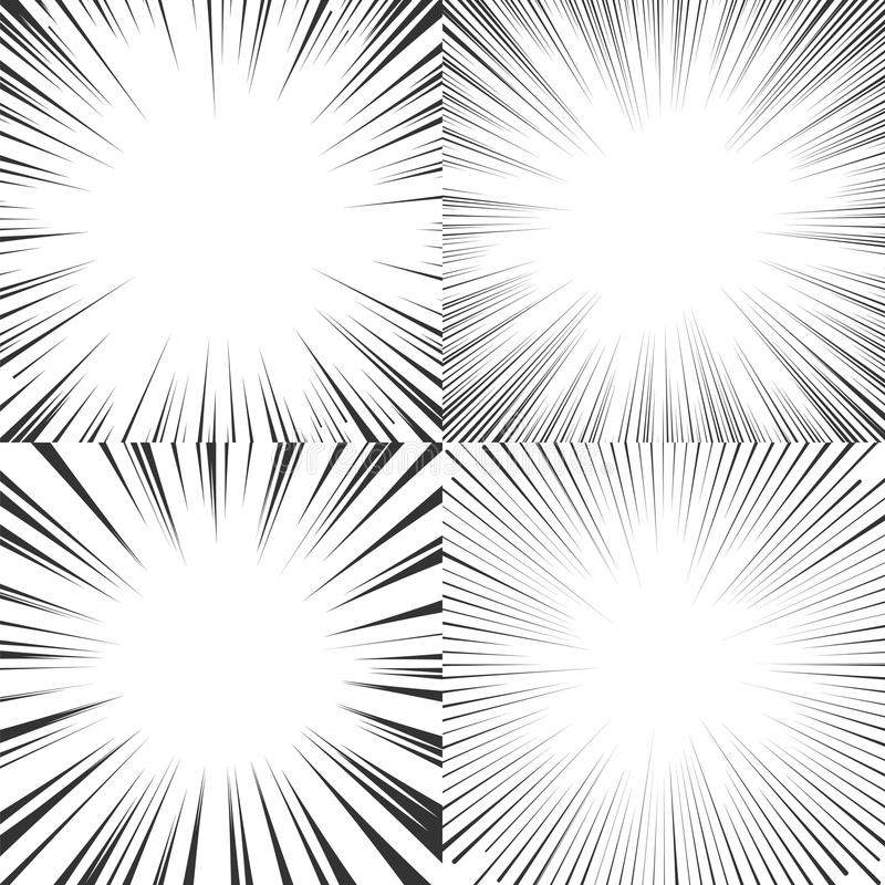 Radial speed lines for comics, manga, pop art. Set of vector il stock illustration