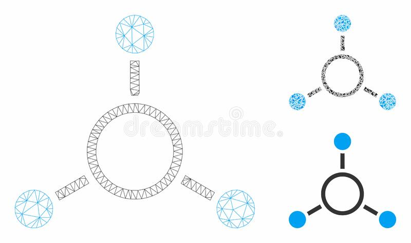 Radial Structure Vector Mesh 2D Model and Triangle Mosaic Icon. Mesh radial structure model with triangle mosaic icon. Wire frame polygonal mesh of radial royalty free illustration